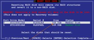 Es erscheint eine Dialogbox die vor Datenverlust warnt. Diese Warnung trifft für RAID 1 nicht zu; die Daten werden nach wie vor vorhanden sein.