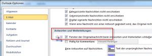 Outlook Originalnachricht beim Antworten oder Weiterleiten schließen