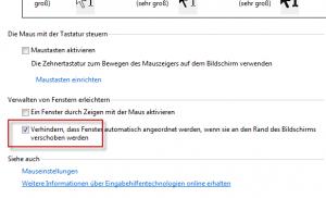 Windows 7: Automatisches Vergrößern und Anordnen von Fenstern abschalten