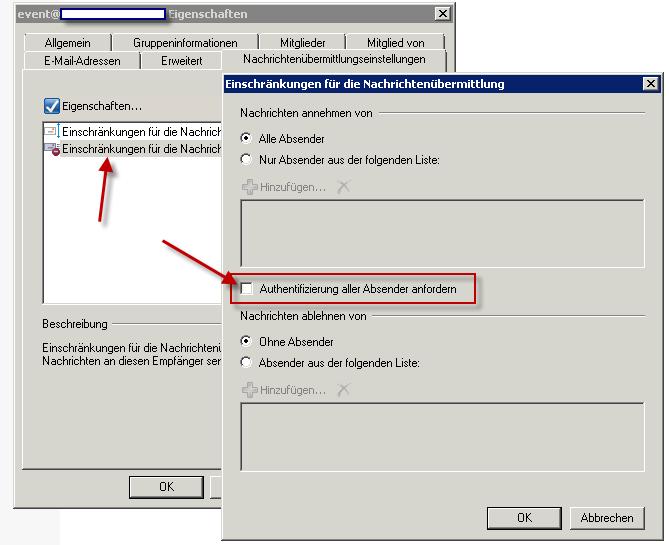 Exchange Verteilergruppe empfängt keine Mails Fehlermeldung Unzustellbar, authentication required