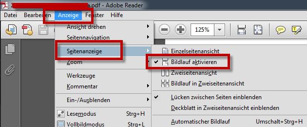 PDF Dokument scrollen