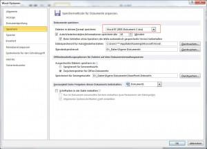 Speicherformat ändern Office 2007 und 2010