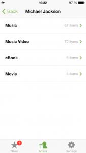 Ansicht bei ausgewähltem Star den man sich als Favorit angelegt hat in der App Artist Radar