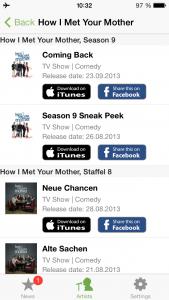 """Ansicht der Suche nach der bekannten TV-Serie """"How I Met Your Mother"""" in der App Artist Radar"""