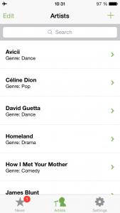 Ansicht der Suche nach Stars in der App Artist Radar
