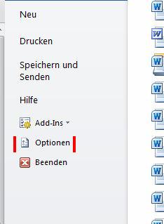 """Unter """"Datei"""" ist der Button für die Optionen zu finden."""