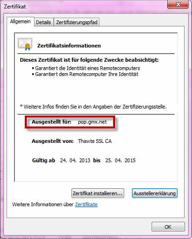 GMX SSL: Zertifikatswarnung ist eindeutig. pop.gmx.net ist die ausgestellte Domain.