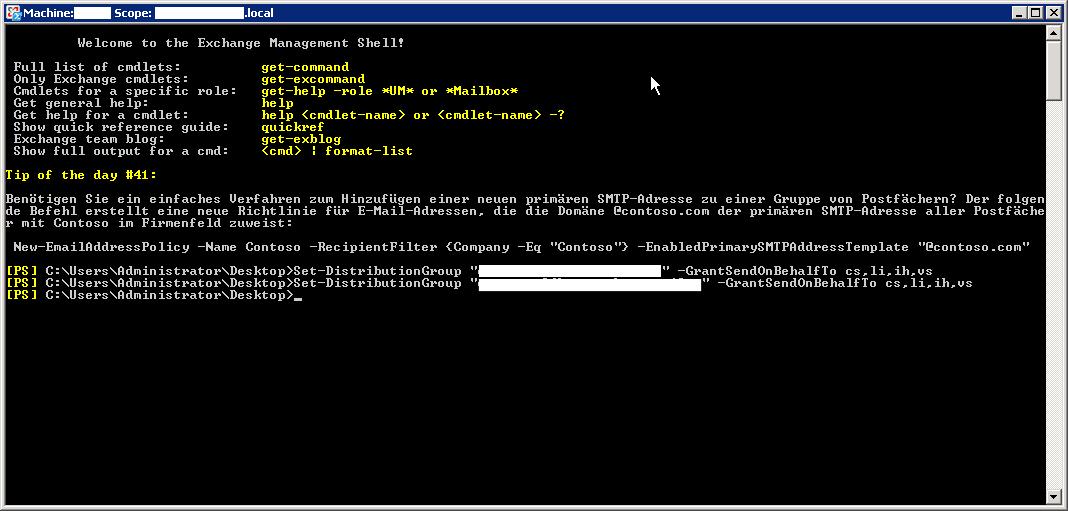 """Senden im Auftrag von in Exchange für eine Verteilergruppe - Sen on behalf of - So sieht die Exchange-Verwaltungsshell aus. Aufrufen könnt ihr die über die Suche im Windows Startmenü. Gebt einfach """"Verwaltungsshell"""" in die Suchleiste ein..."""