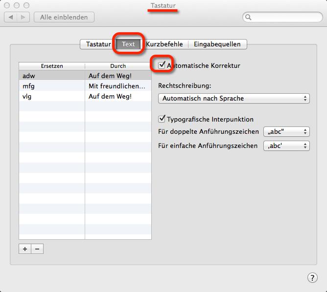 Autokorrektur in OS X abschalten - hier findet man die Autokorrektur in OS X Mavericks und Yosemite.