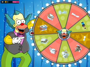 Besonderes Feature in Simpsons Weihnachten: Alle 24h kann man das Glücksrad drehen und besondere Geschenke abstauben