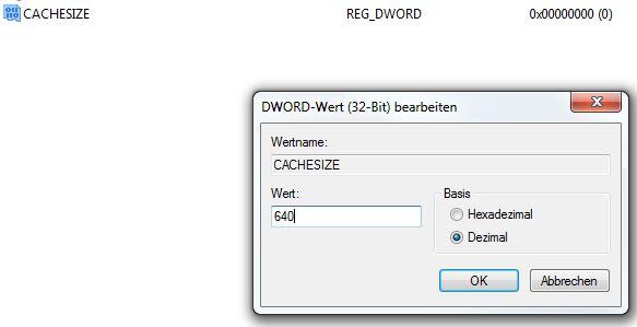 Word im Netzwerk sehr langsam (auch Excel). Hier ein Screenie, wei es in der Registry nach der Änderung aussehen sollte... Das Eigenschaftsfenster des CACHESIZE-Eintrags.