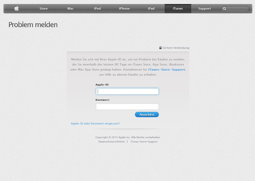 Als erstes geht man, wie erwähnt, auf www.reportaproblem.apple.com gehen und sich dann mit seiner Apple-ID einloggen.