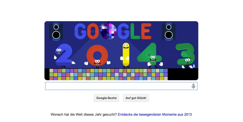 Google Doodle Neujahr 2014 (01.01.2014). EIn einfacher Zahlentausch macht den Banner 2014-tauglich =)