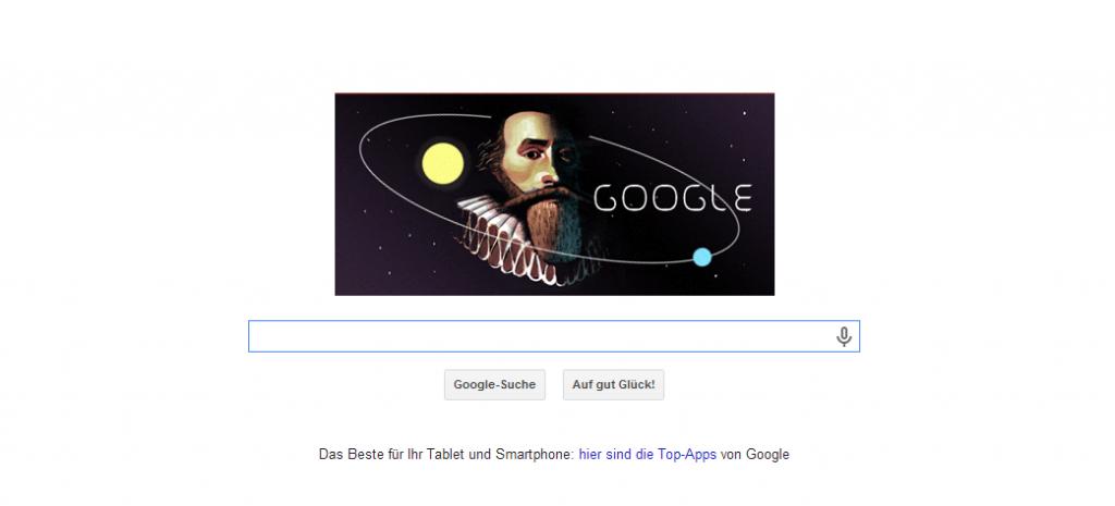 Google Doodle zum Geburtstag von Johannes Keppler (27.12.1571)