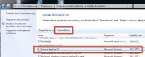 Internet Explorer 11 in Programme und Funktionen finden und deinstallieren für E-Mail Text abgeschnitten, Outlook 2003 E-Mail fehlt Text, versendete E-Mails Text abgeschnitten