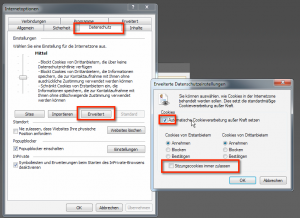 """Optionsfenster für das Cookie-Handling im Bereich """"Erweitert"""" in den Datenschutzeinstellungen in den Internetoptionen des Internet Explorer 11"""