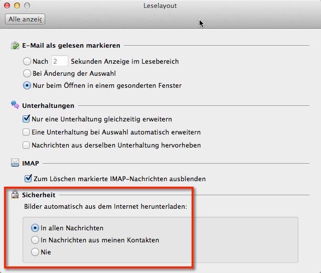 Outlook für Mac Bilder herunterladen deaktivieren. Sicherheitseinstellungen Bilder herunterladen in den Einstellungen im Leselayout im Feld Sicherheit