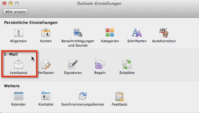 Outlook für Mac Bilder herunterladen deaktivieren. Sicherheitseinstellungen Bilder herunterladen in den Einstellungen im Leselayout