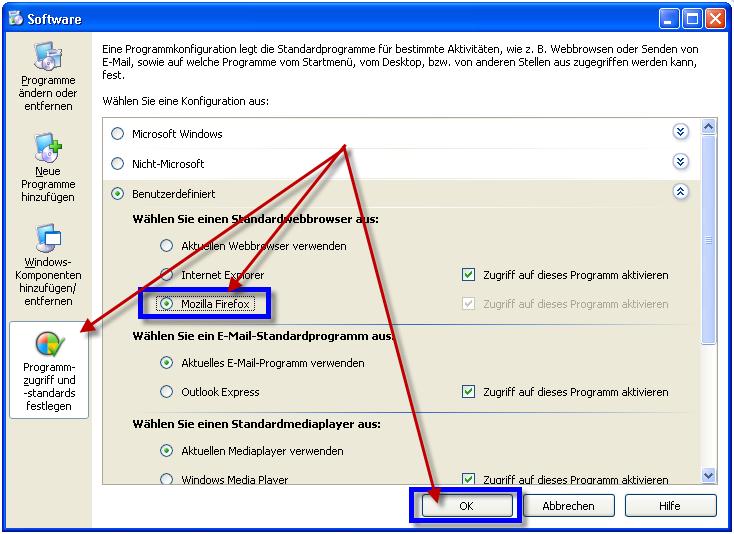 """Programmzugriff- und standards in der Systemsteuerung von Windows XP. Hier kann man unter """"Benutzerdefiniert"""" einen anderen Browser als Standard setzen"""