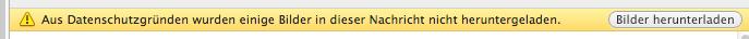So sieht es aus, wenn die Einstellung noch nicht vorgenommen wurde: Bilder Herunterladen in Outlook 2011 für Mac deaktivieren, damit alle Bilder in den E-Mails sofort angezeigt werden