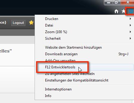 """Um den Kompatibilitätsmodus im Internet Explorer 11 einzustellen müsst Ihr rechts oben auf das Zahnrad klicken, anschliessend auf  """"F12 Entwicklertools"""""""