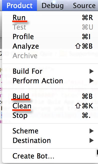 Wenn Ihr den Simluator resettet habt geht bitte in der Xcode-Menüleiste auf Product. Hier dann bitte auf Clean, dann Build und zum Schluss Run.