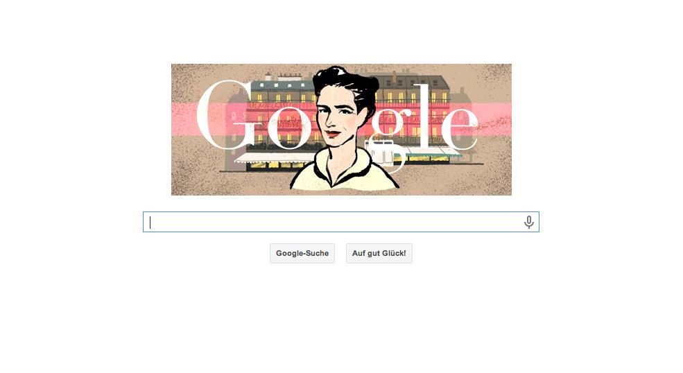 Ein schöner Google Doodle zum 106. Geburtstag von Simone de Beauvoir am 09. Januar 2014