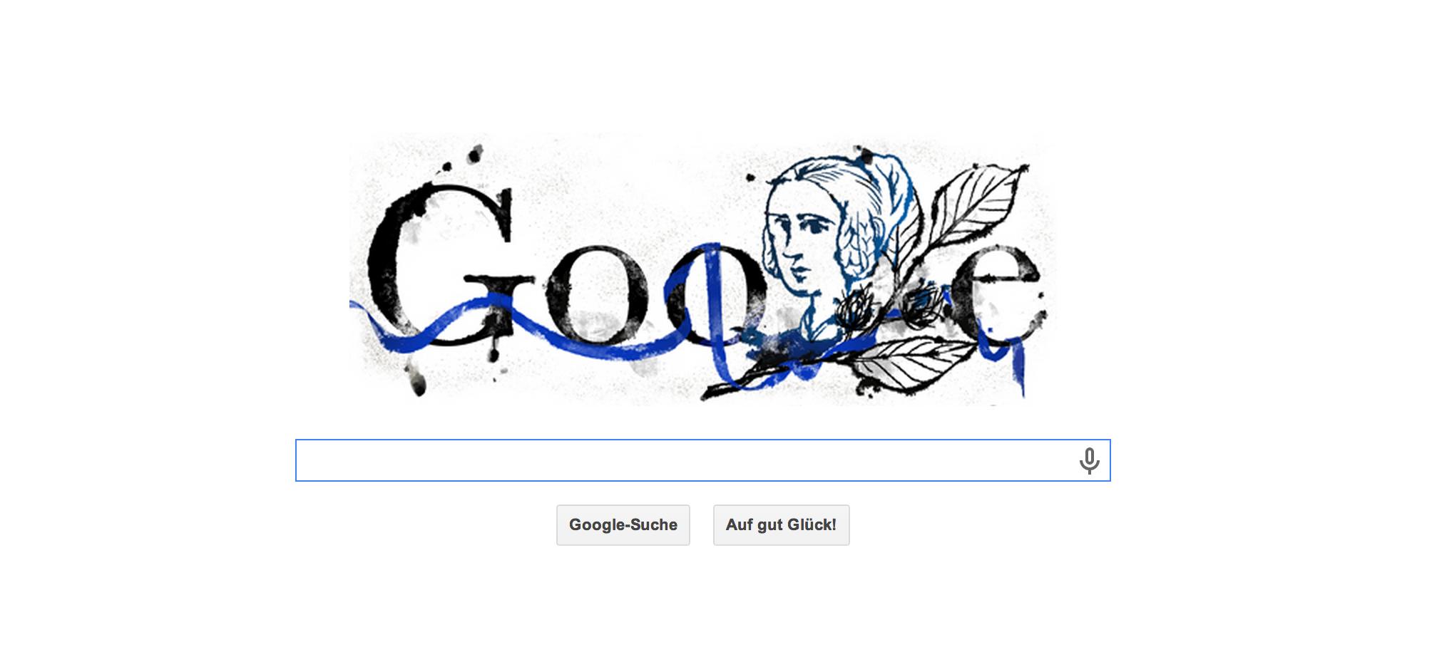 Google Doodle zum 217. Geburtstag von Annette von Droste-Hülshoff, eine der bedeutendsten Dichterinnen Deutschlands. Sie war auch das Gesicht auf dem neuen 20 DM-Schein.