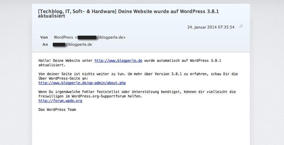 So sieht die Benachrichtigungs E-Mail aus, wenn dein Blog ein automatisches Update durchgeführt hat.