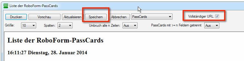 """EXPORT 2: Zuerst setzt man einen Haken bei """"Vollständiger URL"""". Dies ist nur bei Roboform bis Version 6.9.99 möglich. Die Einstellung setzt die korrekten URLs die 1Password 4 lesen kann. Danach klickt man auf """"Speichern"""" und wählt einen Speicherort für den Roboform Export aus."""