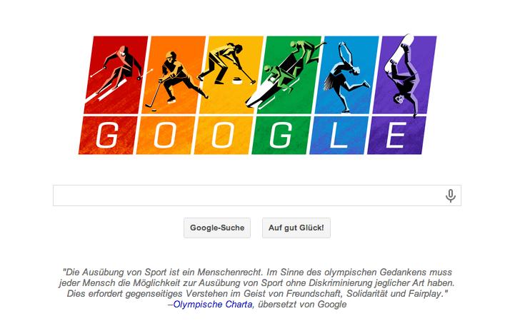 Google Doodle gegen Homophobie in der in Sotschi stattfindenden Olympiade 2014. Putin: Russland will sich an die Charta halten.