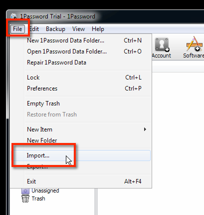 """IMPORT: Der Import der exportierten Roboform-Datei nach 1Password 4 geschieht dann über """"Datei / File"""" und dann """"Import..."""" (Windows) oder """"Ablage"""" > """"Importieren"""" (Mac OS X)."""