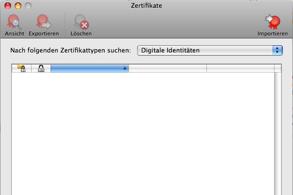 Das Fenster des Microsoft Zertifikatmanagers um für Entourage das GMX SSL Stammzertifikat einzubinden