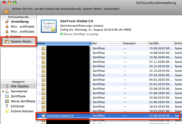 Die Mac OS X Schlüsselbundverwaltung nach dem Import des GMX SSL Zertifikats GeoTrust Global CA