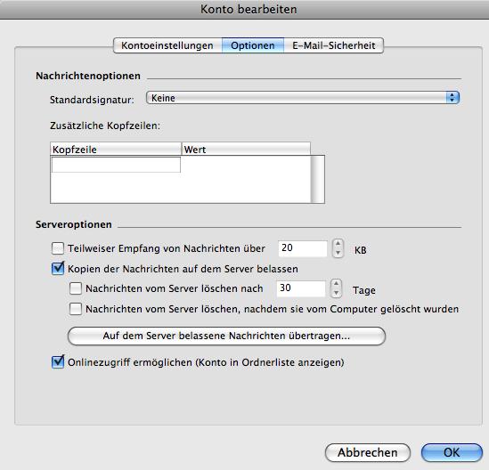 Entourage Optionen für GMX SSL Einstellungen - Das Reiterchen Optionen bitte auf Standardeinstellungen belassen
