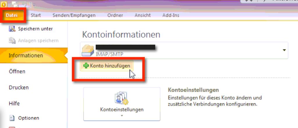 """GMX Outlook Einstellungen SSL: In Outlook klickt Ihr auf """"Datei"""" und dann auf """"Konto hinzufügen"""""""