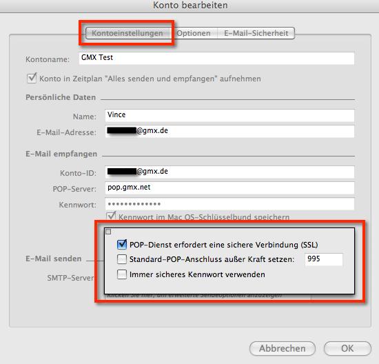 GMX SSL POP3-Einstellungen für Entourage unter Mac OS X