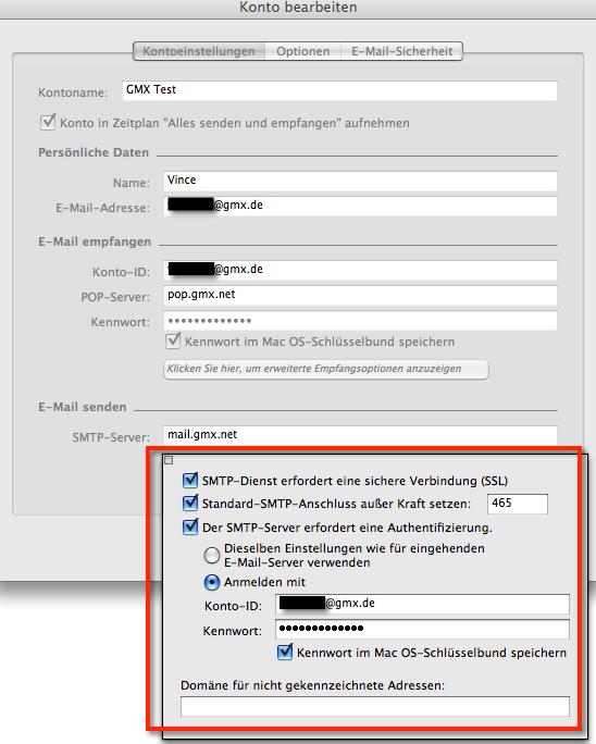 GMX SSL SMTP-Einstellungen für Entourage unter Mac OS X