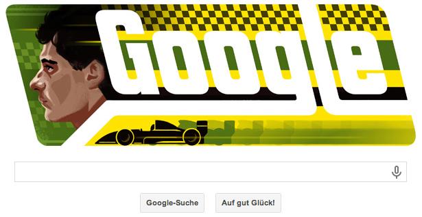 Googe Doodle zu Ayrton Sennas 54. Geburtstag. Der Tod des Fahrers jährt sich zum 20. Mal
