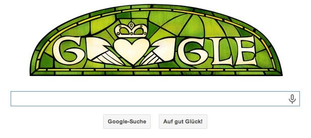 Google Doodle St. Patrick's Day - Der irische Bischof Patrick gilt als erster christlicher Missionar und ist vond er katholischen Kirche heilig gesprochen
