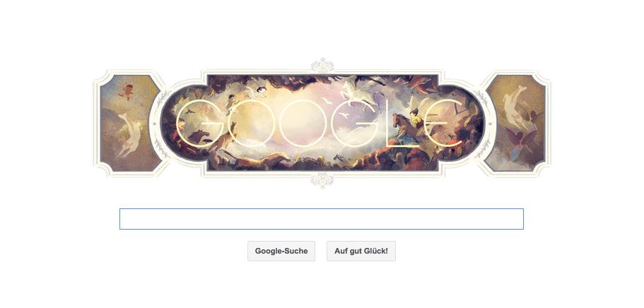 Google Doodle zu Giovanni Battista Tiepolos 318. Geburtstag am 05.03.2014 (venezianischer Maler)
