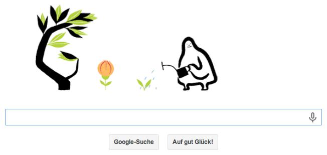 Google Doodle zum Äquinoktium, das bewegte Bild zeigt einen Frühlingsgärtner, der die Google Buchstaben pflanzt