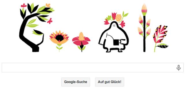 Google Doodle zum Äquinoktium. Hier sind die Blumen ausgewachsen und stellen das Google-Logo dar.