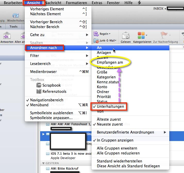 Outlook Unterhaltung abschalten. Die Gruppensortierung entfernt Ihr in Outlook für Mac wie im folgenden aufgeführt