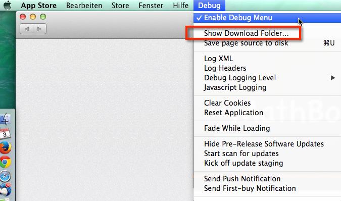 Über das Debug Menü hat man die Möglichkeit einen defekten Download aus dem App Store zu löschen