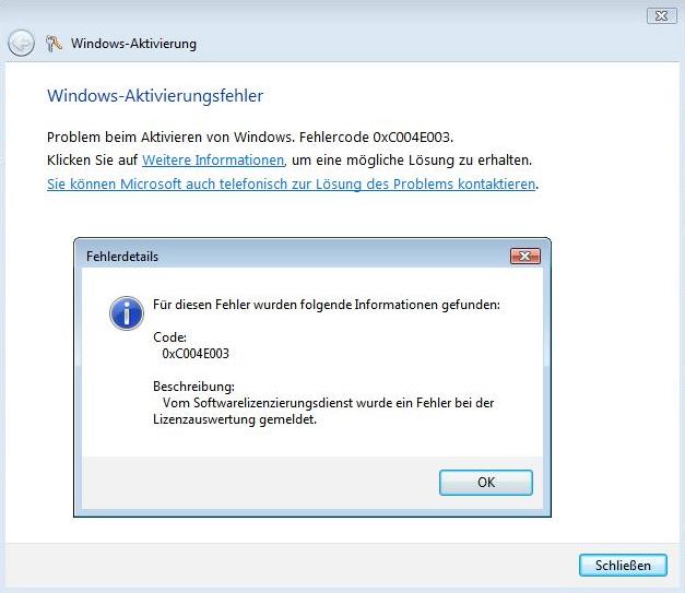 Windows Aktivierung Fehlercode 0xC004E003, Problemlösung zur Windows Aktivierung