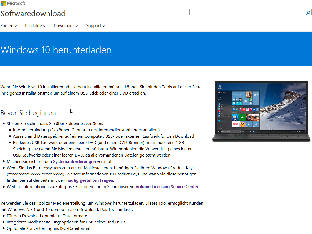 Windows Download kostenlos bei Microsoft
