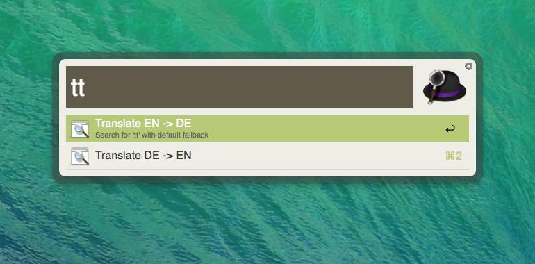Alfred OS X Übersetzung Englisch Deutsch einbauen (custom search)