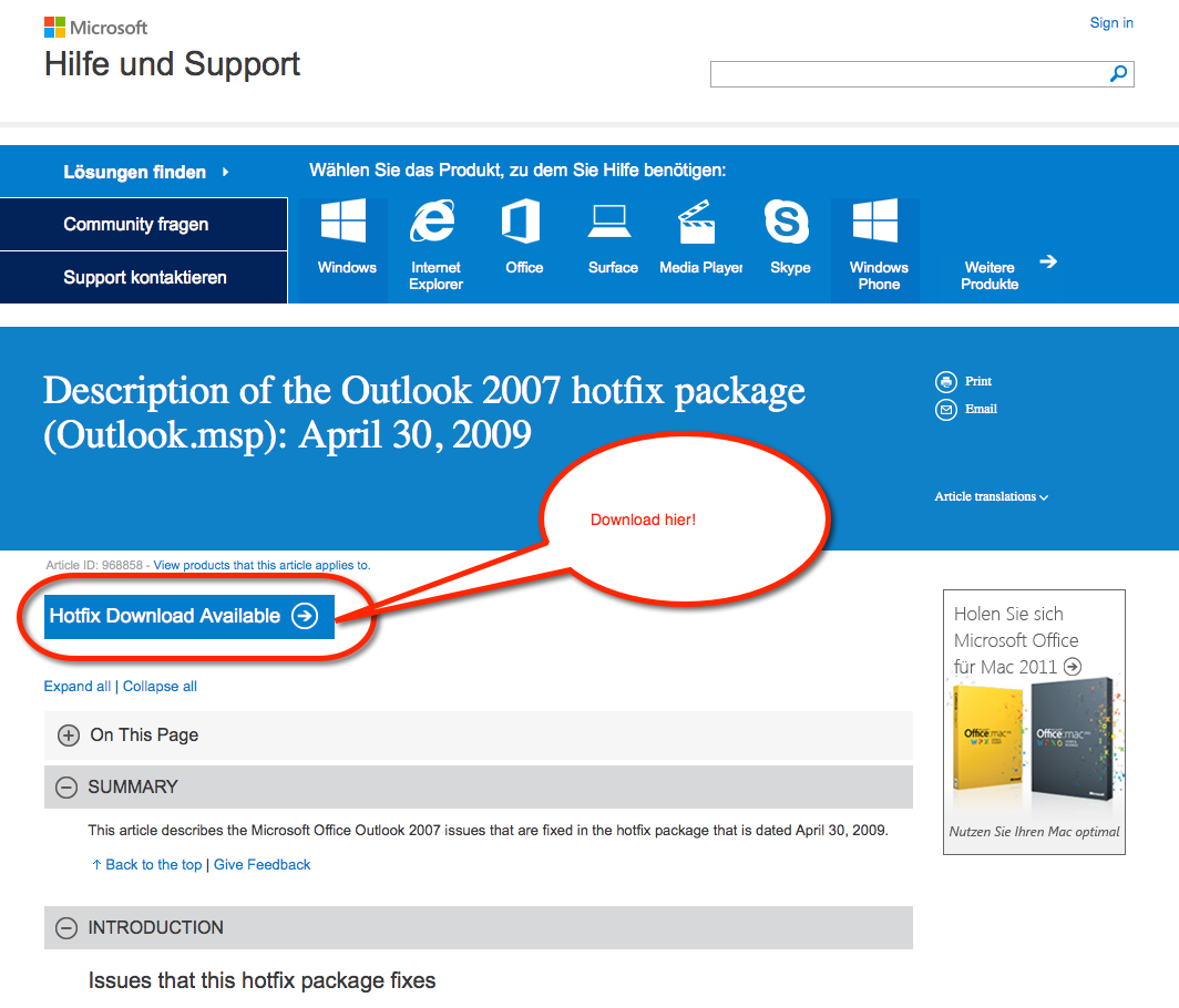 Download des Microsoft Hotfix KB968858 (Outlook.msp) in Verbindung mit T-Online SSL TLS Outlook 2007 Problematik