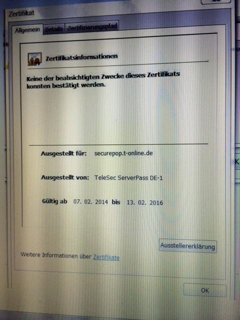 Outlook 2007 T-Online SSL TLS Umstellung: securepop.t-online.de Zertifikatsfehler: Der Zielprinzipalname ist falsch.